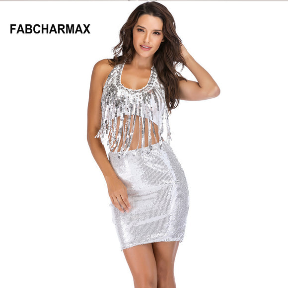 two piece silver sequin dress halter tassels bodycon  mini beading shiny dress