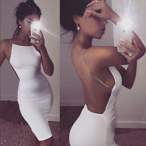 sleeveless crystal chain dress backless bodycon black white dresses