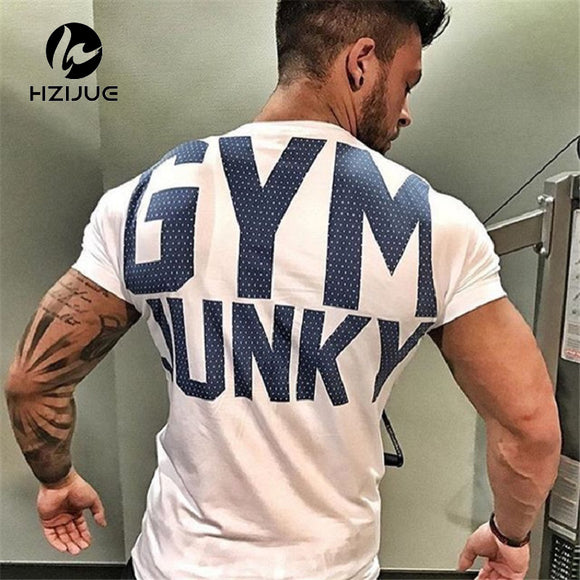 gyms T shirt Fitness Bodybuilding Printed Short Cotton T Shirt