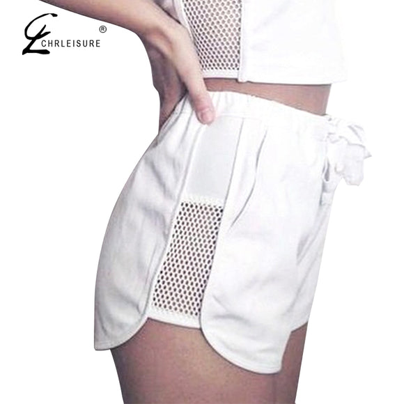 Side Mesh Patchwork Shorts Solid Lace Up Shorts