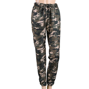 Camouflage High Waist Elastic Waist Lace up Pants