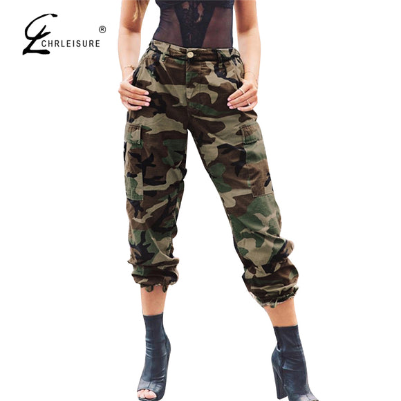 Camouflage Pants High Waist Loose Pocket Beam Foot Pants