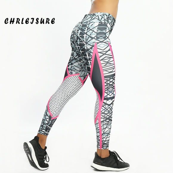 Printed Streak Mesh Splice Push Up Breathable Workout Leggings