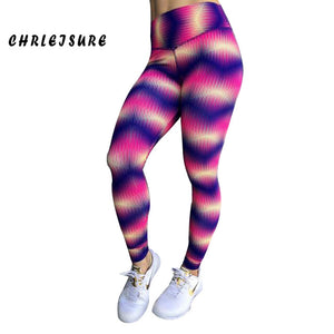 Color Print Leggings High Waist Fitness Workout Breathable Leggings