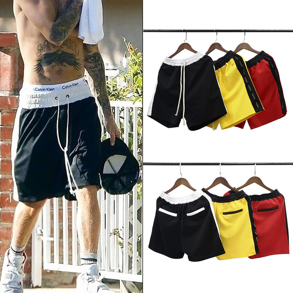 Side Patchwork Color Block Shorts Elastic Waist Shorts 3 Colors