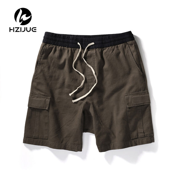 Side Pockets Cargo Drawstring Men's Shorts Black Green