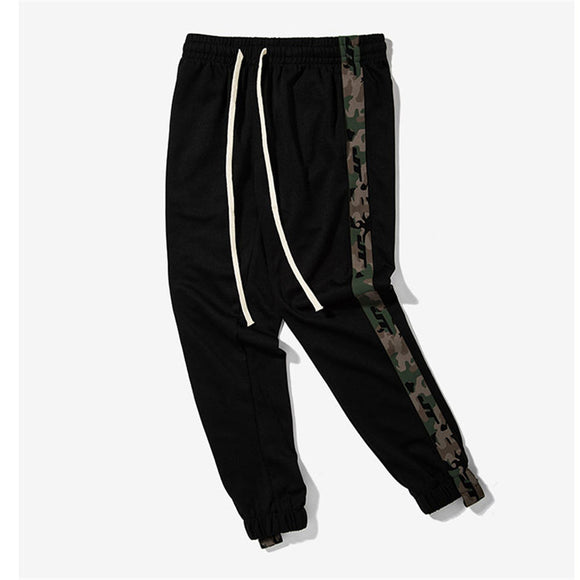Side Stripe Camouflage Track Pants Drawstring Sweatpants