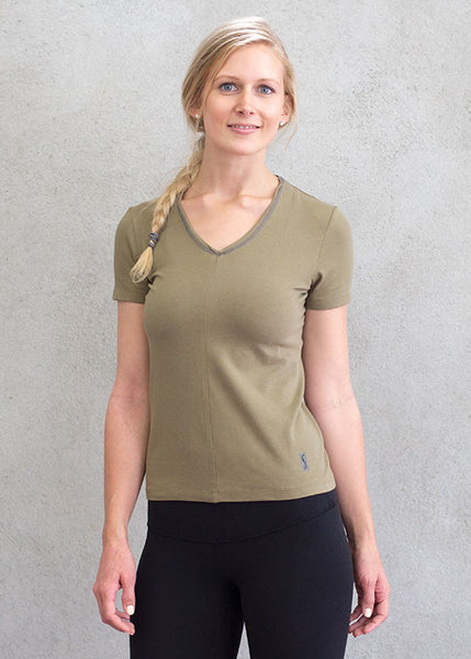 Women v-neck olive top