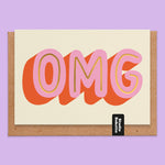 OMG Gold Foil Print New Baby Card