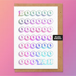 Booyah Holographic Foil Print Birthday Card