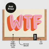 WTF Gold Foil Print New Baby Card