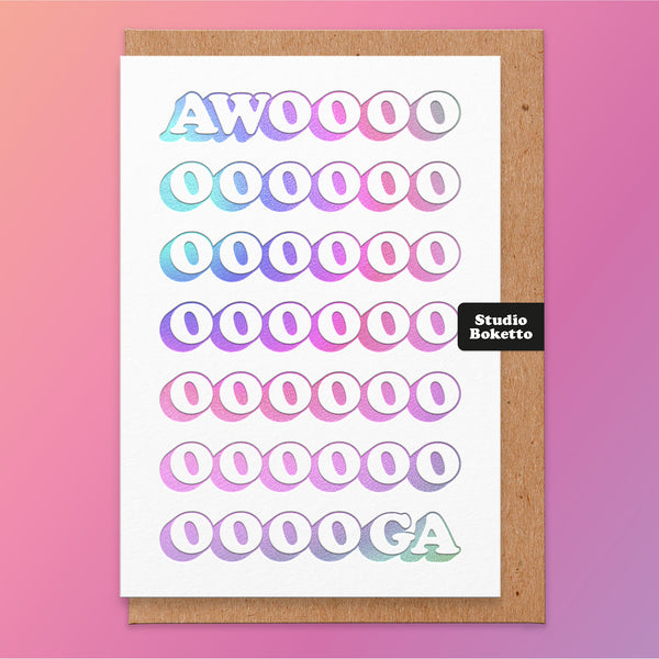 Awooga Holographic Foil Print Valentines Card