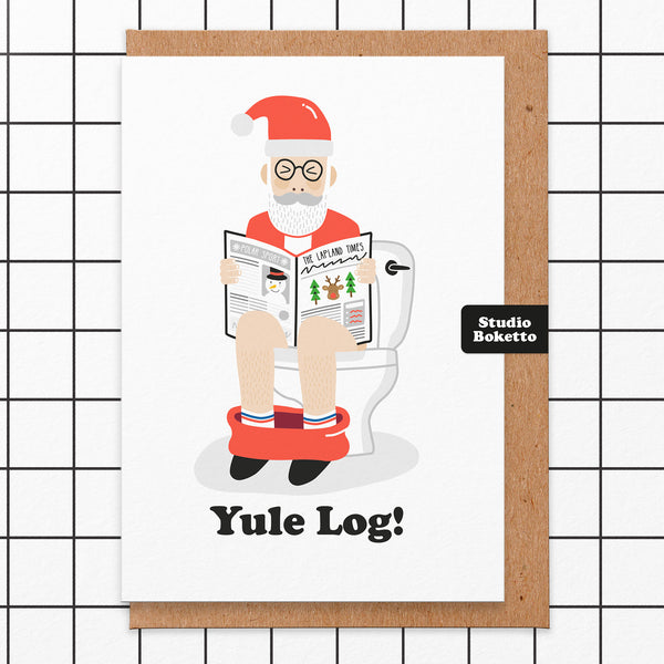 Yule Log Christmas Card