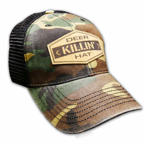 Deer Killin' Hat - Woodland Camo w/Cork Patch