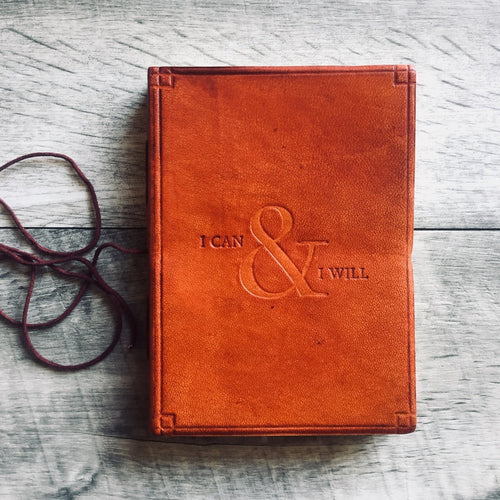 i can and I will leather journal