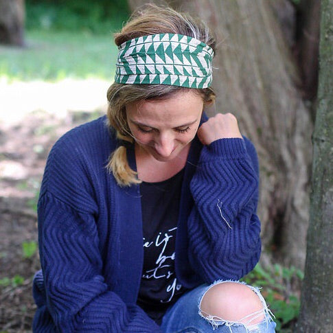 Green & Tan Patterned Headband