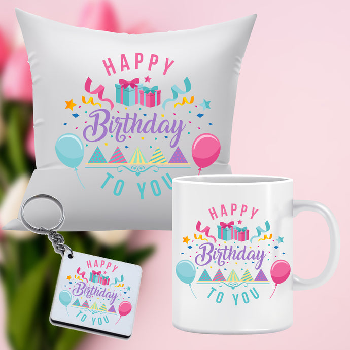 Birthday Combo includes: Mug, Key chain, Cushion(12x12 with filler)