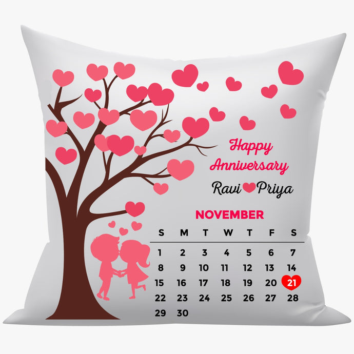 Anniversary calendar 16x16 white Cushion with filler