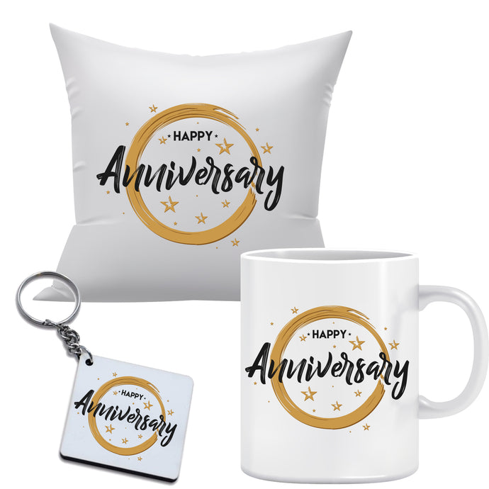 Anniversary Combo includes Mug, Key chain, 12x12 Cushion with filler