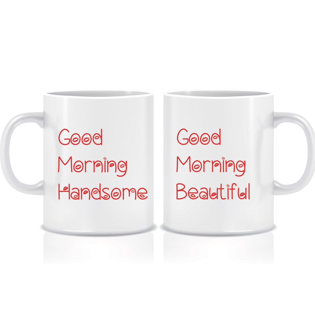 Good Morning Handsome Beautiful Coffee Mugs ED058 - Pack of 2