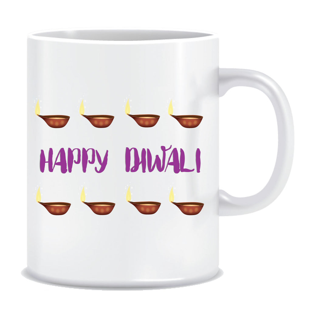 Happy Diwali Diyas Printed Ceramic Coffee Mug ED125