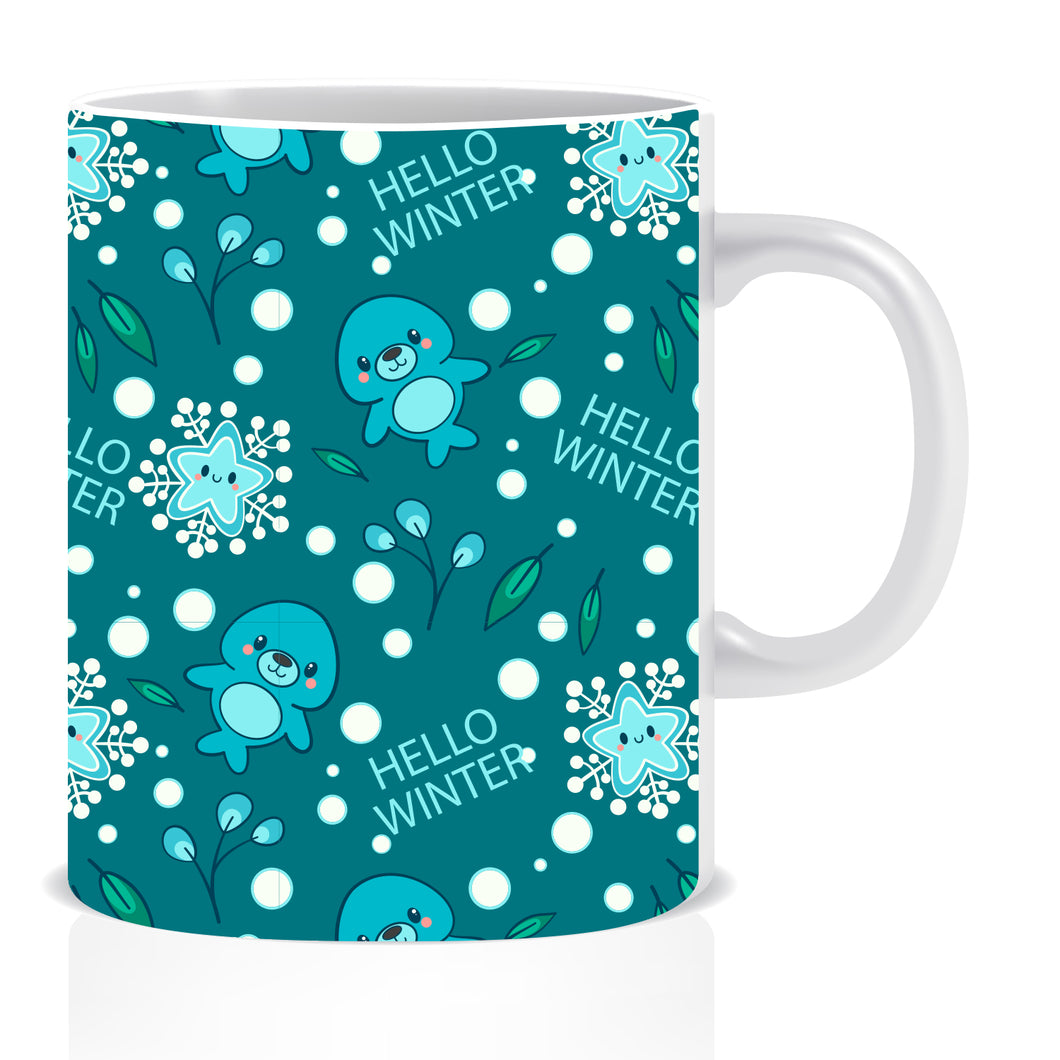 Hello Winter Printed Ceramic Coffee Mug -ED1422