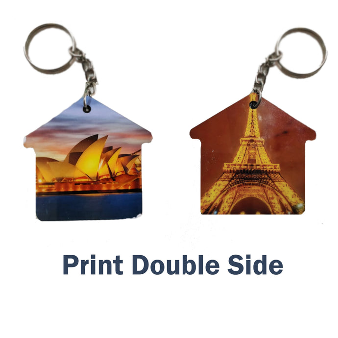 Customize  Key Chain Hut Double Side Print | Any Photo/Logo can be printed