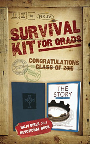 NKJV, 2016 Survival Kit for Grads, Navy, Red Letter Edition: NKJV Bible plus Devotional Book, The Story Devotional
