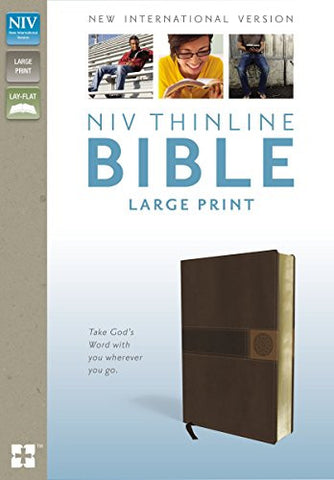 NIV, Thinline Bible, Large Print, Imitation Leather, Brown, Red Letter Edition