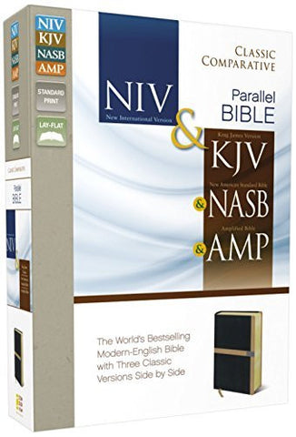 NIV, KJV, NASB, Amplified, Classic Comparative Parallel Bible, Imitation Leather, Black/Tan, Lay Flat: NIV and   KJV and   NASB and   Amplified