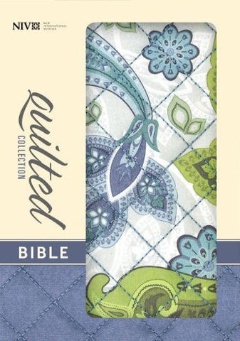 NIV, Quilted Collection Bible, Compact, Hard Cover, Blue/Green Cloth