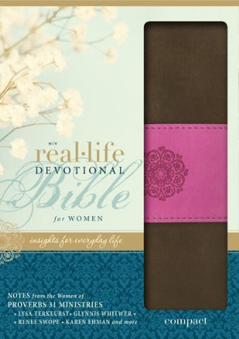 NIV, Real-Life Devotional Bible, Imitation Leather, Brown/Pink: Insights for Everyday Life