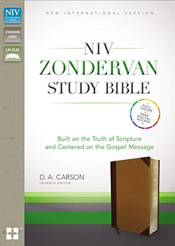 NIV, Zondervan Study Bible, Imitation Leather, Tan/Brown, Lay Flat: Built on the Truth of Scripture and Centered on the Gospel Message