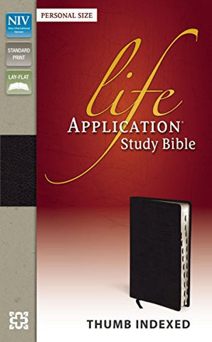 NIV, Life Application Study Bible, Bonded Leather, Black, Indexed, Lay Flat