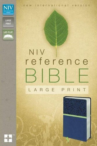 NIV, Reference Bible, Large Print, Imitation Leather, Blue/Green, Lay Flat