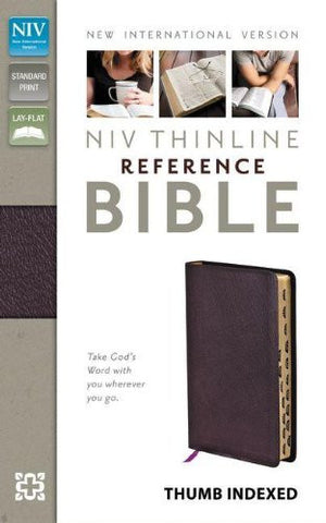 NIV, Thinline Reference Bible, Bonded Leather, Burgundy, Indexed, Red Letter Edition