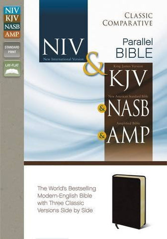 NIV, KJV, NASB, Amplified, Classic Comparative Parallel Bible, Bonded Leather, Burgundy, Lay Flat: NIV and   KJV and   NASB and   Amplified