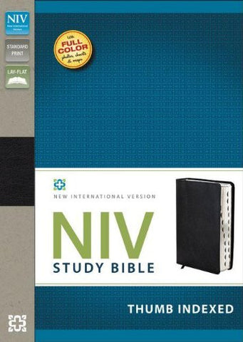 NIV Study Bible, Bonded Leather, Black, Indexed, Red Letter Edition