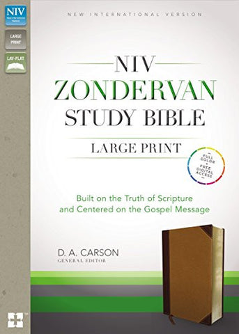 NIV, Zondervan Study Bible, Large Print, Imitation Leather, Brown/Tan , Lay Flat: Built on the Truth of Scripture and Centered on the Gospel Message