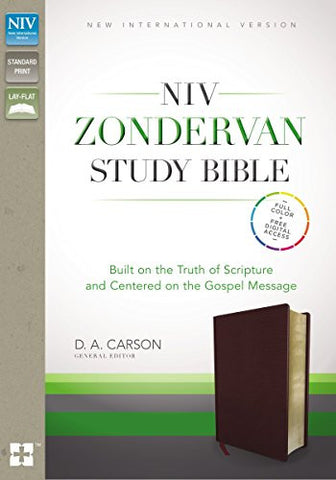 NIV, Zondervan Study Bible, Bonded Leather, Burgundy, Free Digital: Built on the Truth of Scripture and Centered on the Gospel Message
