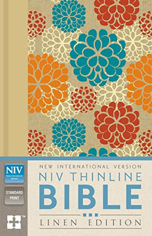 NIV, Thinline Bible, Linen Edition, Hardcover, Tan/Blue/Red Linen, Red Letter Edition