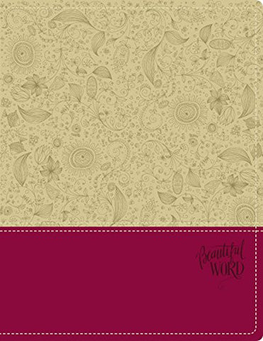 NIV, Beautiful Word Bible, Imitation Leather, Tan/Red