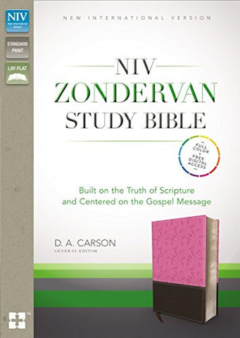 NIV Zondervan Study Bible, Imitation Leather, Pink/Brown, Indexed: Built on the Truth of Scripture and Centered on the Gospel Message