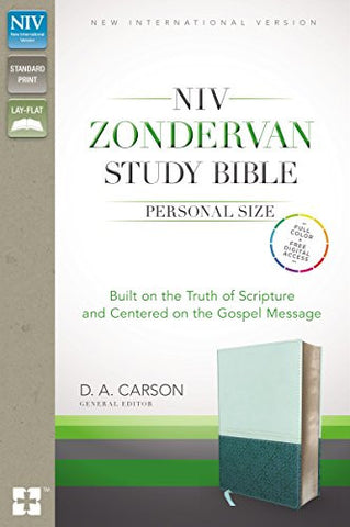 NIV Zondervan Study Bible, Personal Size, Imitation Leather, Light Blue/Turquoise, Indexed: Built on the Truth of Scripture and Centered on the Gospel Message