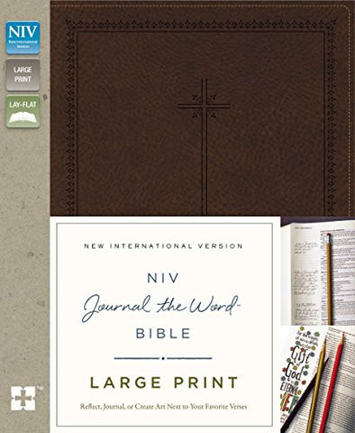 NIV, Journal the Word Bible, Large Print, Imitation Leather, Brown: Reflect, Journal, or Create Art Next to Your Favorite Verses
