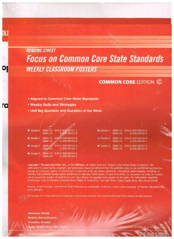 READING 2011 COMMON CORE STANDARDS WEEKLY CONNECTION POSTER PACKAGE     GRADE 5