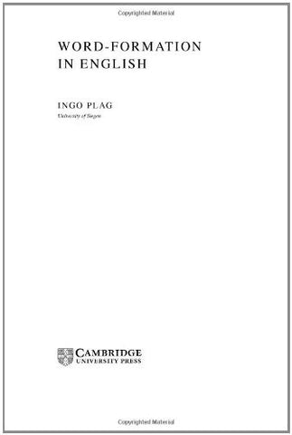 Word-Formation in English (Cambridge Textbooks in Linguistics)
