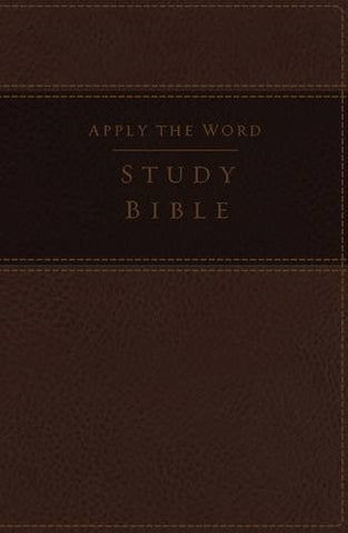 NKJV, Apply the Word Study Bible, Large Print, Imitation Leather, Brown, Indexed, Red Letter Edition: Live in His Steps
