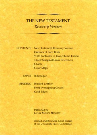 New Testament Recovery Version (Black; Bonded leather; Small)