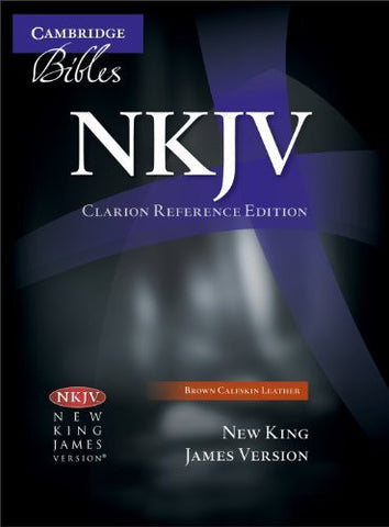NKJV Clarion Reference Bible NK485:X Brown Calfskin Leather